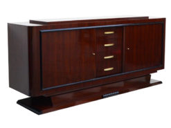 art deco sideboard, walnut wood, two big doors, four small drawers, wonderful veneer, closed base, living room furniture,