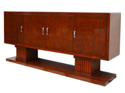 art deco sideboard, walnut wood, very spacious, four doors, two big column feet, closed bottom plate, square body form, living room furniture