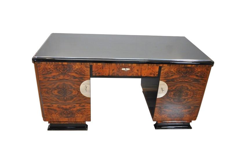 Art Deco Desk Two Sided Burl Wood Doors Highgloss Black