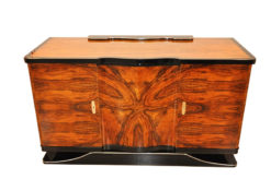 Art Deco, Sideboard, walnut wood, curved, shaped, great shape, unique wood, living room furniture, storage space, highgloss