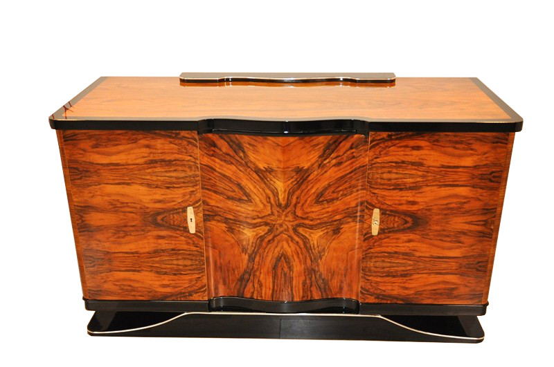 Art Deco, Sideboard, walnut wood, curved, shaped, great shape, unique - Curved Art Deco Walnut Sideboard - Original Antique Furniture
