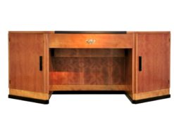 art deco desk, hexagonale tabletop, cherry wood, mahogany wood, dark writing area, plenty of storage space, office furniture