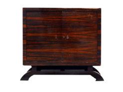art deco commode, palisanderwood, u-formed foot, plenty of storage space, two doors, wonderful veneer, living room furniture