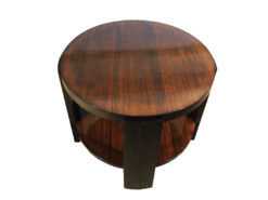 Art Deco, Sidetable, Classic, Round, Highgloss, Mahogany, Zebrano, Living room, Bedroom, beautiful grain, Era, high quality