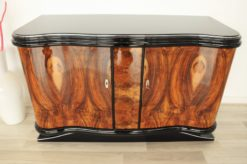 Vintage, Antique, Art Deco, Commode, Burwood, Veneer, Sideboard, Pianolacquer, polished, highgloss, curved doors, living room, design