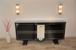 Art Deco, Sideboard, very, rare, exklusive, design, pianolacquer, mirror, stripe, chrome, bars, luxurious, living room, beautiful feet