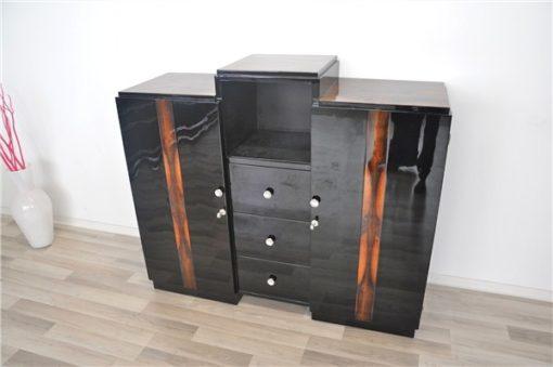 Art Deco, Sideboard, Commode, Buffet, Highgloss, Black, Walnut, Details, Design, compartement, chrome, handles, living room