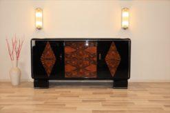 classic, art deco, buffet, sideboard, credenza, check, veneer, original, antique, vintage, storage, serving plate, leather, restored