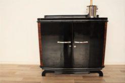 Art Deco, Commode, Sideboard, Walnut; 1920s, France, Original, highgloss, black, pianolacquer, mirror finish, handpolished, living room, furniture