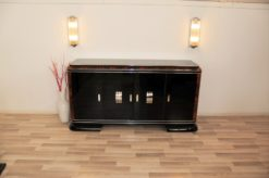 Art Deco, Sideboard, Buffet, French, pinaolacquer, mahogany, details, design, black, veneer, chorme, handles, bars, glass shleves