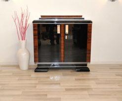 Art Deco, Commode, chrome handles, wood details, chrome details, wonderful, brass hinges, living room, square, elegant, storage space