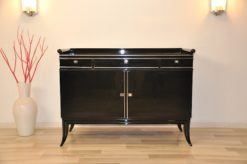 Art Deco, Commode, high gloss, filigree feet, handpolished, surface, glossy, mirror finish, flat drawers, living room furniture