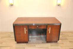 Art Deco, Desk, Palisander Wood, Rosewood, living room, office furniture, design piece, unique, veneer, two sided, back panel, shelve