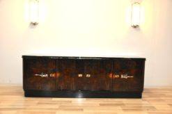 Art Deco, Lowboard, Sideboard, Buffet, dark Burlwood, unique, pianolacquer, handpolsihed, furniture, antique, restored, vintage, chrome, curved doors