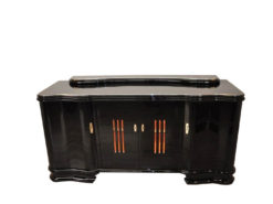 Art Deco, Sideboard, Buffet, Illumination, serpentine doors, highgloss lacquer, polished, design, french, original, glass