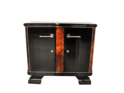 french, art deco, commode, burlwood, details, highgloss, pianolacquer, chromelines, chrome handle, french feet, furniture, living room