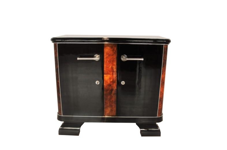 French Art Deco Commode Burlwood Details Highgloss Pianolacquer Chromelines