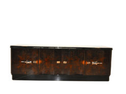 Art Deco, Lowboard, Sideboard, Buffet, dark Burlwood, unique, pianolacquer, handpolsihed, furniture, antique, restored, vintage, chrome, curved doors