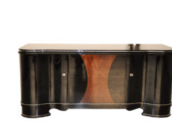 Art Deco, Highgloss, Black, Pianolacquer, Sideboard, Lowboard, curved doors, hand polished, wood veneer, matt black interior, design, furniture
