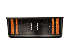 Art Deco, Walnut, lowboard, Sideboard, Buffet, Pianolacquer, high quality, design, black, furniture, luxurious, polished, living room