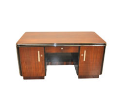 Art Deco, Desk, Palisander Wood, Rosewood, living room, office furniture, design piece, unique, veneer, two sided, back panel, shelve