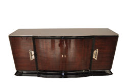 Art Deco, Sideboard, Buffet, Palisander, Era, highgloss, polished, pianolacquer, chrome, handles, french, curved doors, living room