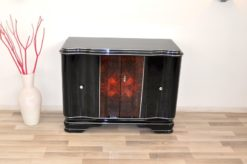 Art Deco, Commode, Piano Lacquer, Walnut, Vintage, Antique, Storage, hand polished, design, living room, furniture, chrome bars