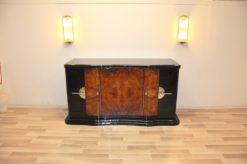 Art Deco, Curved, Credenza, Sideboard, Buffet, Era, Walnu, Veneer, body shape, furniture, antique, vintage, stair foot, black,