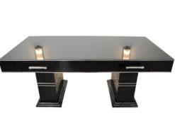 Bauhaus, Desk, Highgloss, Black, Original, Lacquer, Piano Lacquer, Lacobel Glass, Chromelines, ten layers, handpolished, drawers, chrome handles