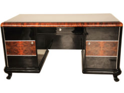 Art Deco, Desk, highgloss, polished, surfaces, burl, details, office, furniture, lacobell glass, writing plate, chrome bars, drawers