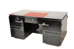 french, art deco, desk, great details, design, shelve, alcantara leather, pianolacquer, chromelines, chrome handles, office furniture