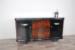 Art Deco, Furniture, Sideboard, Buffet, Credenza, Walnut, Wood, restored, original, antique, vintage, living room, design, storage