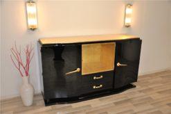 Art Deco, Sideboard, Black, golden Details, Buffet, Credenza, Furniture, Storage, Antique, Vintage, Restoration, Original, France, Highgloss