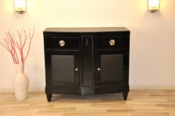Art Deco, Commode, Black, Design, Leather, Details, Cabinet, Furniture, High gloss, Ornamentation, pointing feet, oak, veneer, chrome, handles
