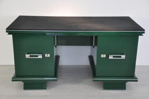 Art Deco, Desk, table, furniture, design, office, living room, jaguar racing green, highgloss, lacquer, green, alcantara, chrome, restored