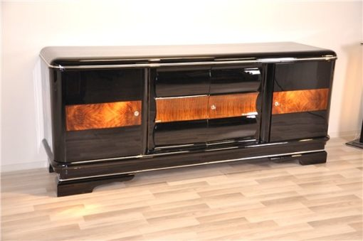 Art Deco, sideboard, buffet, credenza, storage, cabinet, black, highgloss, walnut, large, space, design, rounded corners, serving extensions