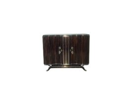Art Deco, commode, design, beautiful foot, macassar, wood, high gloss finsih, hand polished, straight form, serpentine doors, chromed handles,