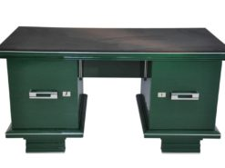 Art Deco, Desk, table, furniture, design, office, living room, jaguar racing green, highgloss, lacquer, green, alcantara, chrome, restored