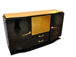 Art Deco, Sideboard, Black, golden Details, Buffet, Credenza, Furniture, Storage, Antique, Vintage, Restoration, Original, France, Highgloss