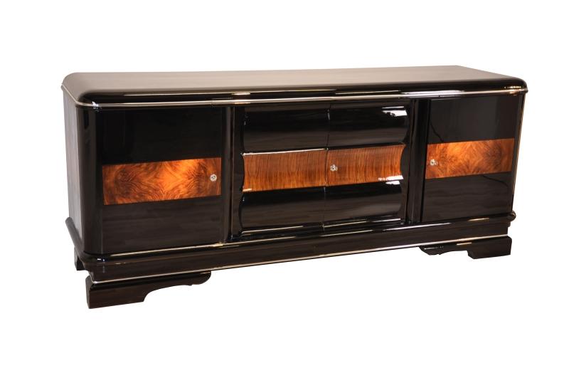 large art deco sideboard with walnut original antique furniture. Black Bedroom Furniture Sets. Home Design Ideas