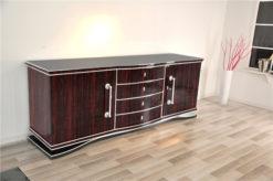 Art Deco, Macassar, xxl, sideboard, buffet, cabinet, veneer, storage, living room, design, furniture, shelves, chrome handle