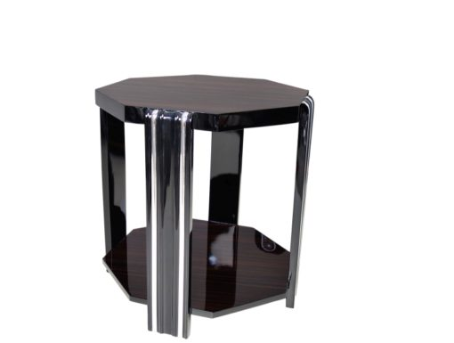 Art Deco, design, style, side table, coffe table, macassar, veneer, octagonal tabletop, furniture, living room, luxurious