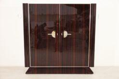 Art Deco, Cabinet, Design, Macassar, Storage, hand polsiehd, lacquer, high gloss, veneer, grain, unique, bedroom, chrome, handles