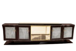 Art Deco, Sideboard, Buffet, large, design, macassar, diamonds, stones, veneer, glass, vitrine, shape, curved doors, living room