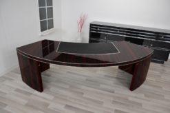 Bauhaus, XXL Desk, Large, USA, furniture, veneer, macassar, office, leather, design, luxury, half round, body shape, florida