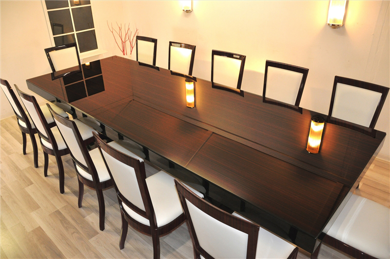 Large Art Deco Dining Table with 12 Matching Chairs - Original ...