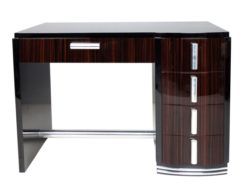 Art Deco, desk, table, macassar, drawers, chrome, handles, bars, rail, piano, lacquer, hand polished, design, furniture, elegant