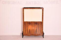 Art Deco, secretary, bureau, cabinet, walnut wood, design, high gloss black feet, lacobel glass, small drawers, light inside, furniture