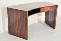 vintage, art deco, desk, macassar, curved, tabletop, wood, apllications, unique grain, furniture, office, drawers, chromed handle