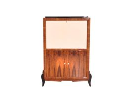 Art Deco, secretary, bureau, cabinet, walnut wood, design, high gloss black feet, lacobel glass, small drawers, light inside, furniture